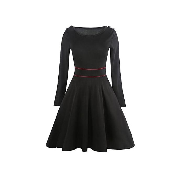 Generic HL Vintage Long Sleeve Epaulet Dress (noir)(M-2XL) à prix pas cher