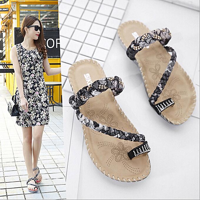 Fashion femmes Boho Flip Flops Sandals Casual Wedge Clip Toe Beach chaussures -noir à prix pas cher
