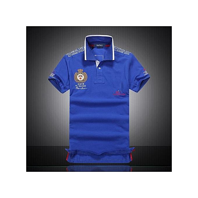Generic nouveau mode Décontracté Brand Pour des hommes été Cotton manche courte Diagonal Stripes Patchwork Polo Shirt-bleu à prix pas cher