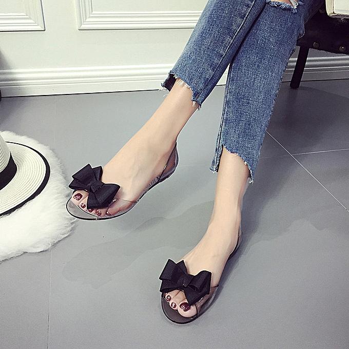 Générique Tcetoctre WoHommes WoHommes WoHommes  Fashion Bow Fish Mouth Transparent Flat Shoes Casual Shoes Sandals Black-Black à prix pas cher    Jumia Maroc 042f16