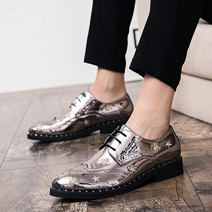 Fashion Men Brogue chaussures Embroidery Formal chaussures Male Casual Oxfords chaussures (argent) à prix pas cher    Jumia Maroc