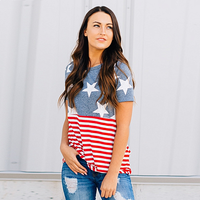 Generic Generic femmes American Flag Décontracté  été Camis Tank hauts chemisier Loose T-Shirt A1 à prix pas cher