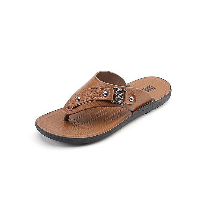 Fashion Mens Flip Flops Outdoor Sandals marron à prix pas cher