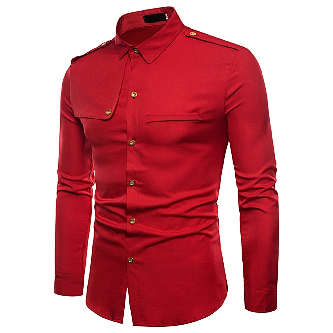 Fashion jiahsyc store Mens Autumn Casual Fashion Military Combat Slim Fit Long Sleeve Shirt Top Blouse à prix pas cher