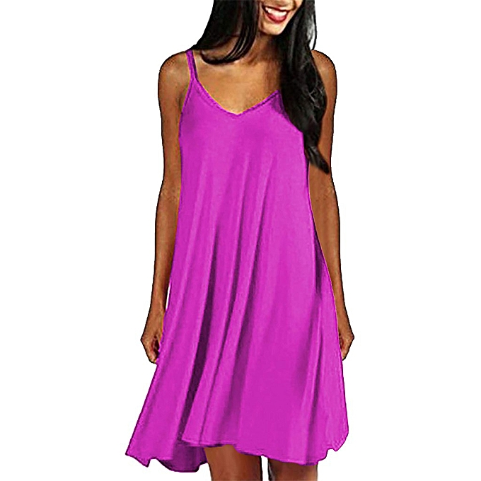 Fashion Wohommes Casual Plain Simple T-Shirt Loose Summer Dresses Sundress à prix pas cher