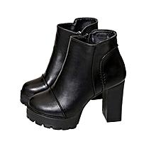 1d655142dc21bf Female Martin Boots Women Casual Shoes Side Zipper High Chunky Heels