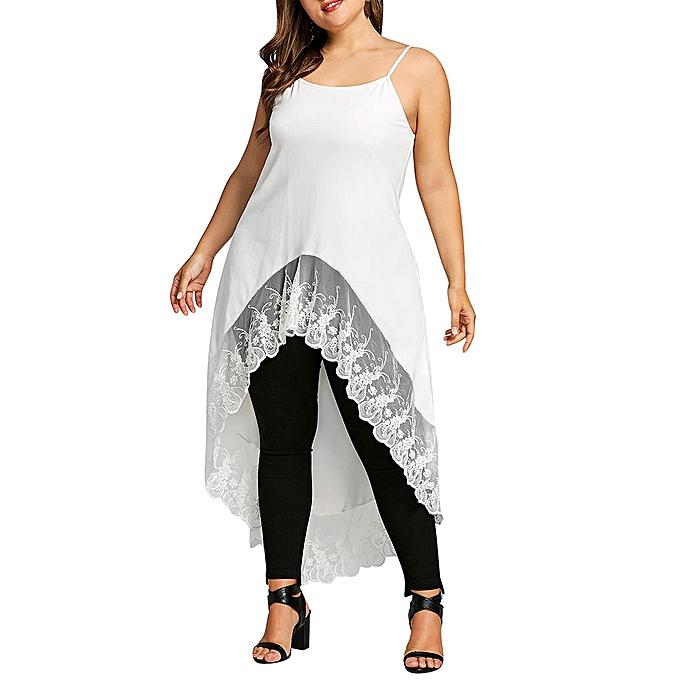 Fashion (Xiuxingzi) femmes Plus Taille Lace Patchwork Irregular Hem Blouse Sleeveless Cami Tops Shirt à prix pas cher