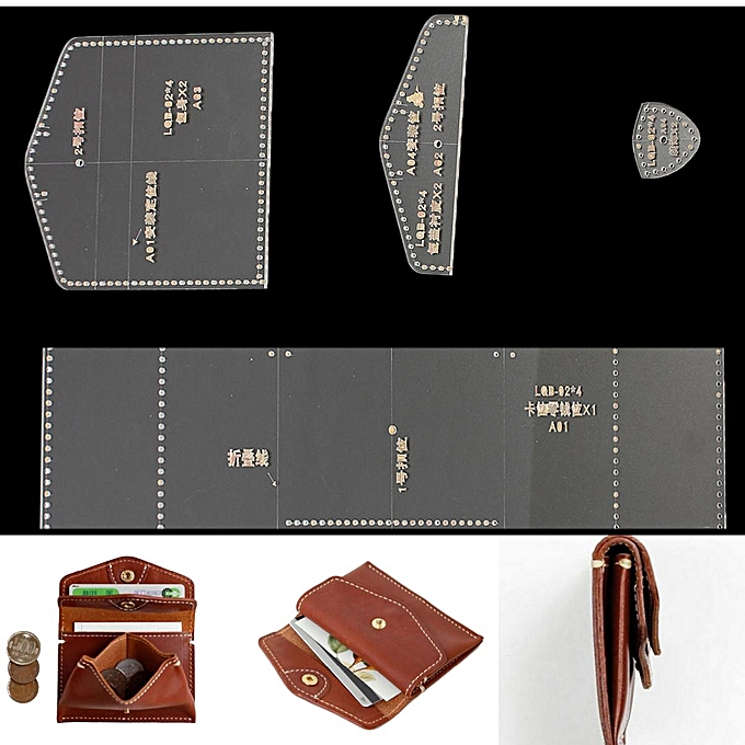 UNIVERSAL 4pcs DIY Acrylic Clear Leather Template Kit for Wallet Leathercraft Leather Pattern à prix pas cher