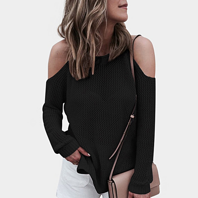 Fashion femmes Round Neck Long Sleeve Off Sholder Hollow Out Sweater Casual Knitted Shirt à prix pas cher