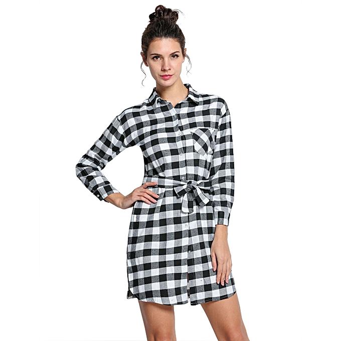 Sunshine mode femmes Lady manche longue Plaid Check Straight Tunic Décontracté chemisier Shirt Robe With Belt-noir à prix pas cher
