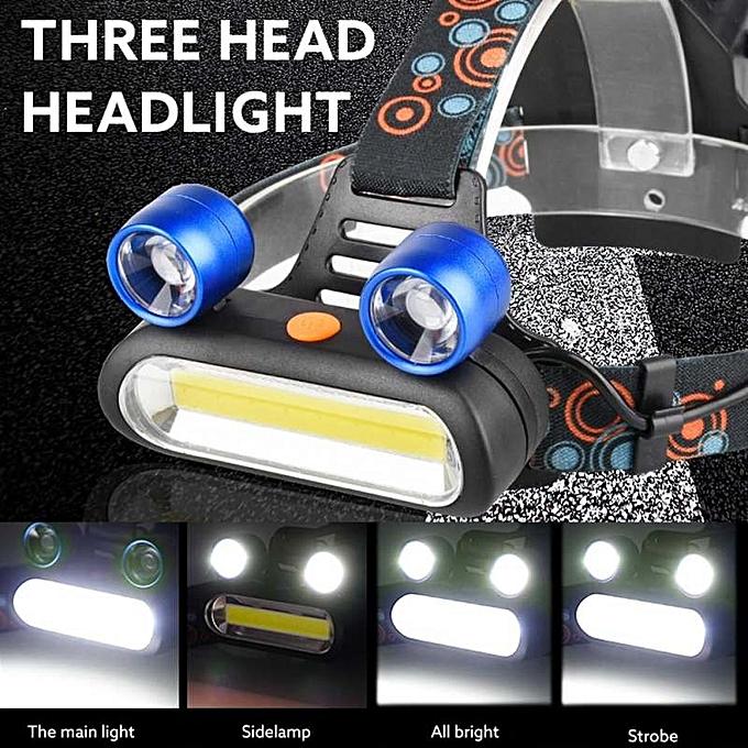 OEM 15000LM 2x XM-L T6 LED +COB Rechargeable 18650 Headlamp Head Light Torch à prix pas cher