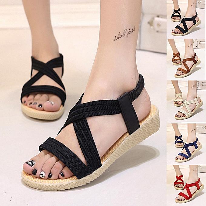 Fashion Summer chaussures femmes Flat Sandals Ladies Cross Strap Flip Flops chaussures Plus Taille à prix pas cher