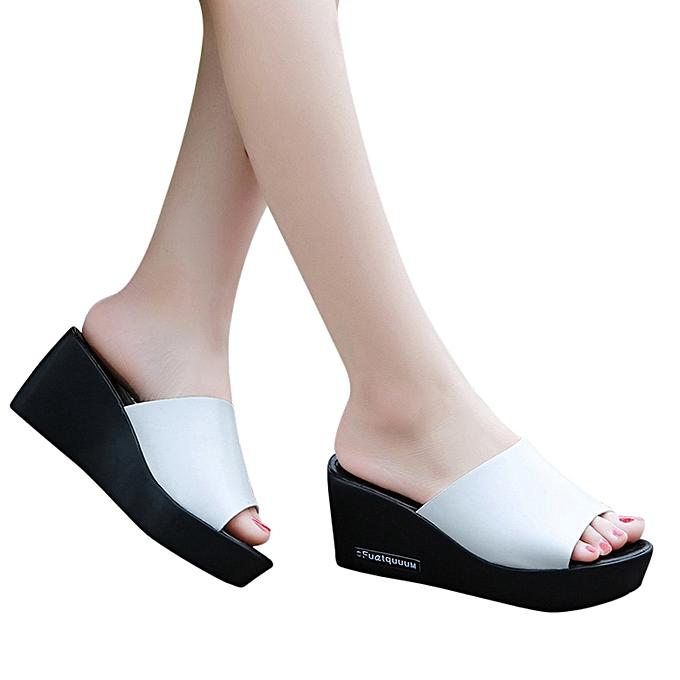 Fashion Jummoon Shop Casual femmes Fish mouth Platform talons hauts Sandals Slope Sandals Slippers à prix pas cher
