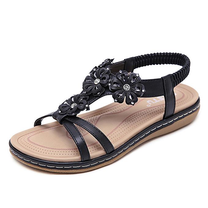 Fashion Ethnic female sandals bohemian rhinestone flowers large Taille flat chaussures à prix pas cher