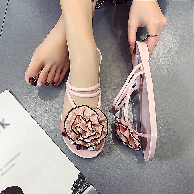 Generic Tcetoctre  femmes Flowers Summer Sandals Slipper Indoor Outdoor Flip-flops Beach chaussures-rose à prix pas cher