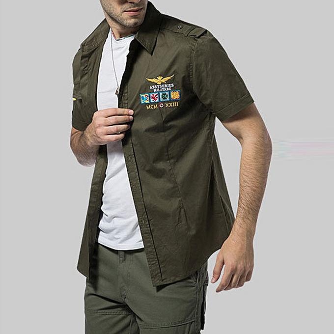 Fashion Men's Casual Embroidery Military Pure Couleur Pocket Short Sleeve T-shirt Tops à prix pas cher