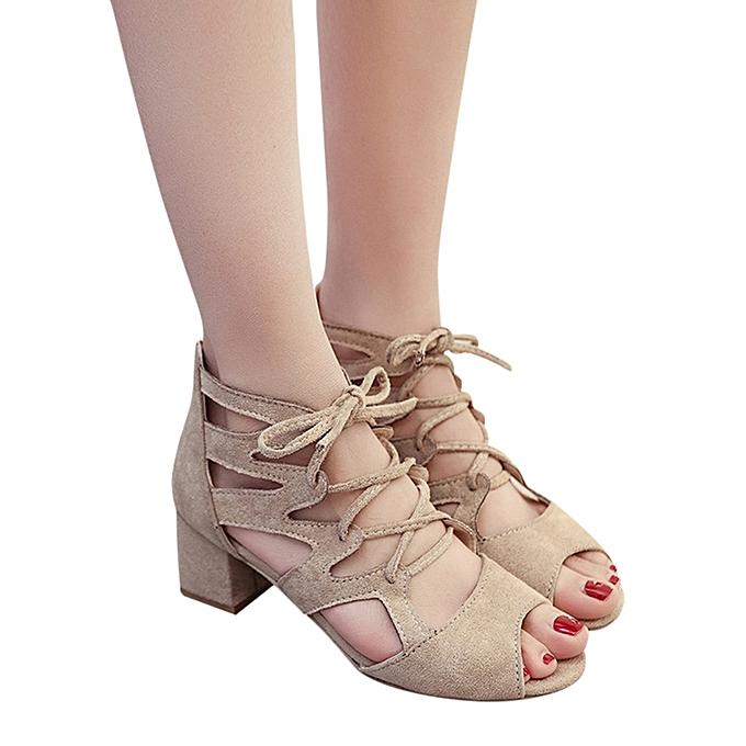 Generic Tcetoctre mode femmes Ladies Sandals Ankle Square talons Block Party Open Toe chaussures-Beige à prix pas cher