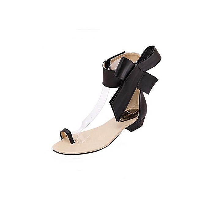 mode Blicool chaussures mode femmes Girls Cute Bowknot Sandals été chaussures Party Sexy Flat Sandals noir à prix pas cher