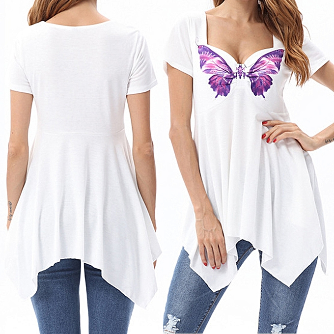 Fashion (Xiuxingzi) femmes Casual Short Sleeve Butterfly Print Irregualr Blouse T Shirt Tops à prix pas cher