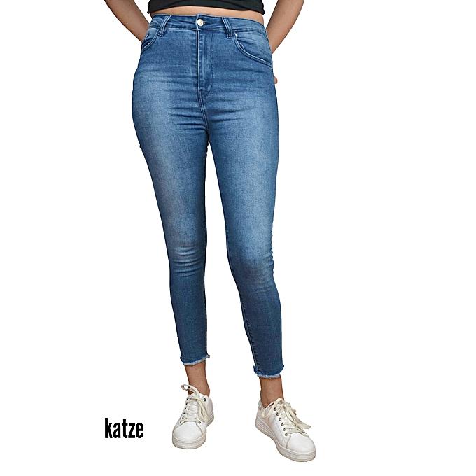 e84afad6c7e5a Commandez KATZE Pantalon Jeans taille haute Stretch pérroché en bas ...