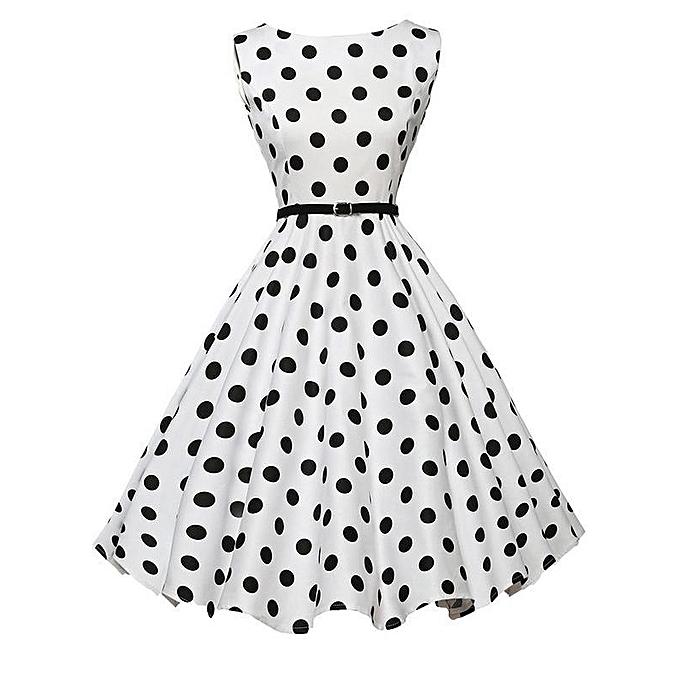 Sunshine Femmes des années 1950 Vintage Style O cou sans hommeches Polka Dot Swing Party Robe avec ceinture à prix pas cher