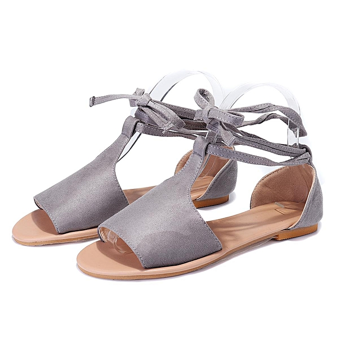 Fashion Fashion femmes Summer Flat Sandals T-Strap Opened Toe Ankle Strap Casual chaussures à prix pas cher