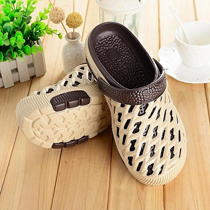 Fashion Fashion femmes Men Big Taille Hollow Out Couleur Match Sandals Slip On Flat Slippers à prix pas cher