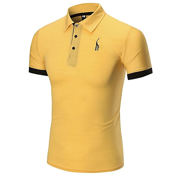 mode Jummoon Shop mode Affaires Hommes& 039;s Décontracté Slim manche courte Fawn T Shirt Top chemisier à prix pas cher