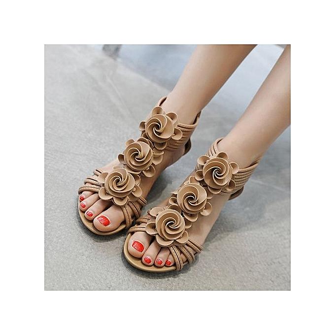 Fashion Hiamok_Fashion femmes Sandals Summer chaussures Flower Wedges Girl Roman Sandals à prix pas cher    Jumia Maroc