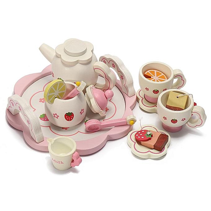 UNIVERSAL EnfantS boisEN Kitchen Pretend Play Toy Tea Set Ice Cream Cooking Set Puzzle Clock à prix pas cher