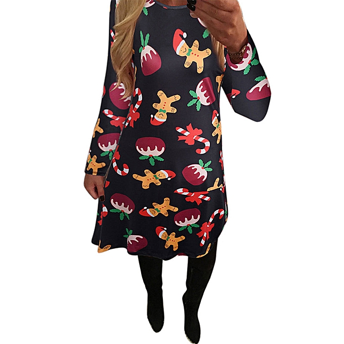 Fashion Xmas Print Swing Dress Ladies Christmas Long Sleeve Flarouge Party Dresses BK L à prix pas cher