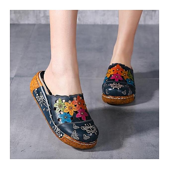 Fashion SOCOFY Fashion femmes  Leather Butterfly Print Silppers Flower Platform Retro Flat Sandals-EU à prix pas cher