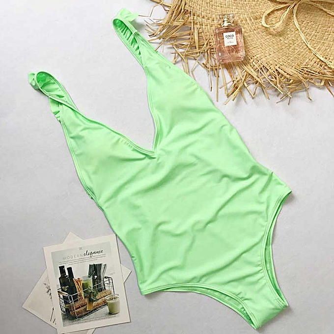 Autre High cut bikinis femmes ruffle one piece swimsuit female swimwear Push up bathing suit femmes bathers Brazilian bikini(vert 2) à prix pas cher