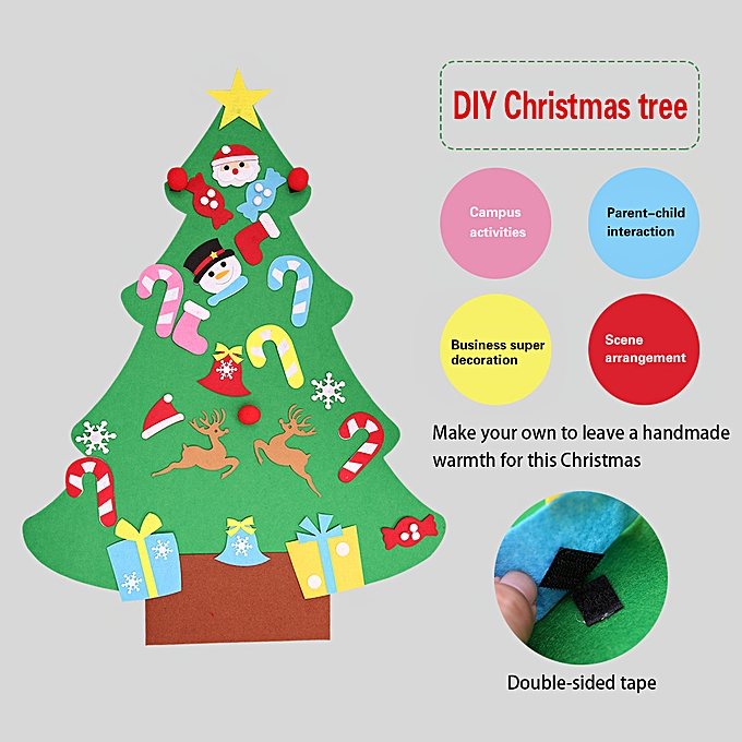 Generic DIY Felt Christmas Tree Set With Ornaments For Kids,Xmas Gifts,Door Wall Hanging à prix pas cher