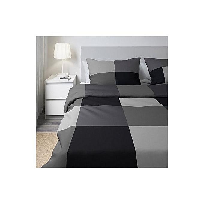 ikea housse de couette et 2 taies d 39 oreiller noir 240x220 50x60 cm chambre a couche prix pas. Black Bedroom Furniture Sets. Home Design Ideas