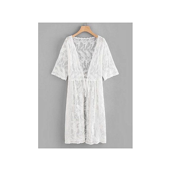SHEIN Lace Embroidery Knot Front Cover Up à prix pas cher