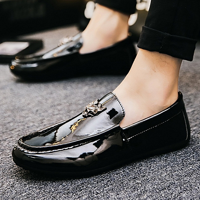 Other Spring baskets leisure fashion lazy hommes glace leather pedal chaussures-noir à prix pas cher