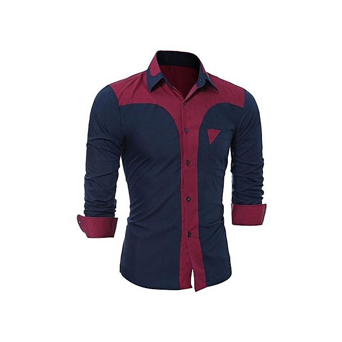 Eissely Pour des hommes Décontracté manche longue Shirt Affaires Slim Fit Shirt Hight Quality chemisier- Navy à prix pas cher