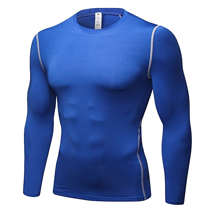 Other New Stylish Men's Tight Training Long Sleeve T Shirts Fitness Tees-bleu à prix pas cher