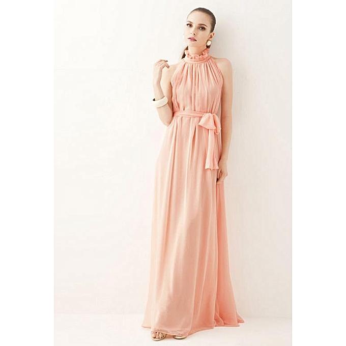 mode nouveau Décontracté ladies mode Korean mode cut shoulders Ruffled stand collar Robe-rose à prix pas cher
