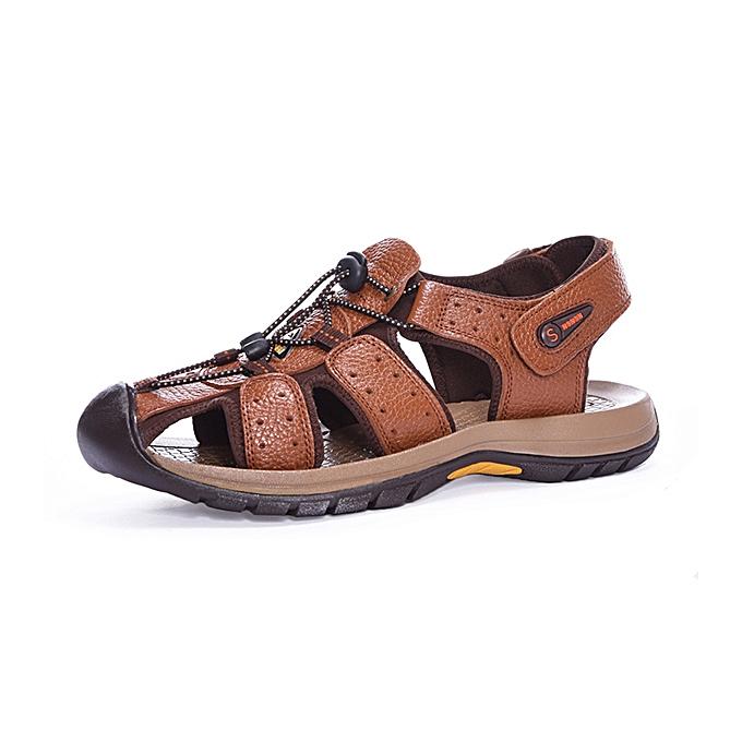 Fashion Genuine Leather Beach Sandals Outdoor Round Toe Flat chaussures à prix pas cher