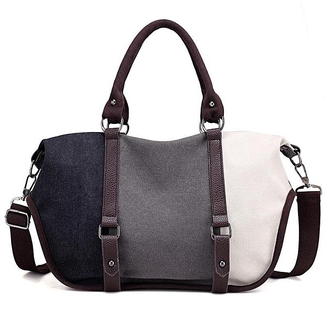 Fashion femmes Quality Canvas Casual Couleur Block Large Capacity Handbag Shoulder Bag Crossbody Bag noir and gris and blanc à prix pas cher
