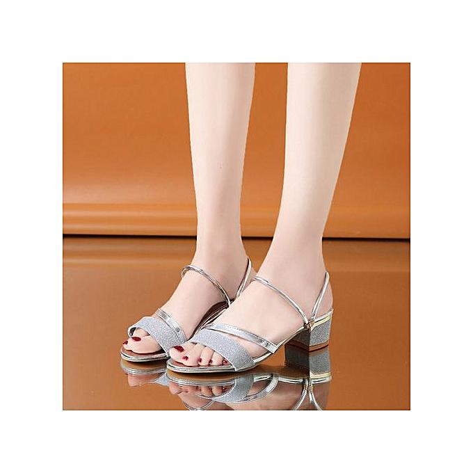 Fashion Hiamok_Fashion femmes Sequins Sandals Ankle Mid Heel Block Party Open Toe Flip Flop à prix pas cher