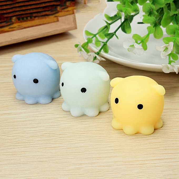 UNIVERSAL Octopus Squishy Squeeze Toy Cute Healing Toy Kawaii Collection Stress Reliever Gift Decor-jaune à prix pas cher