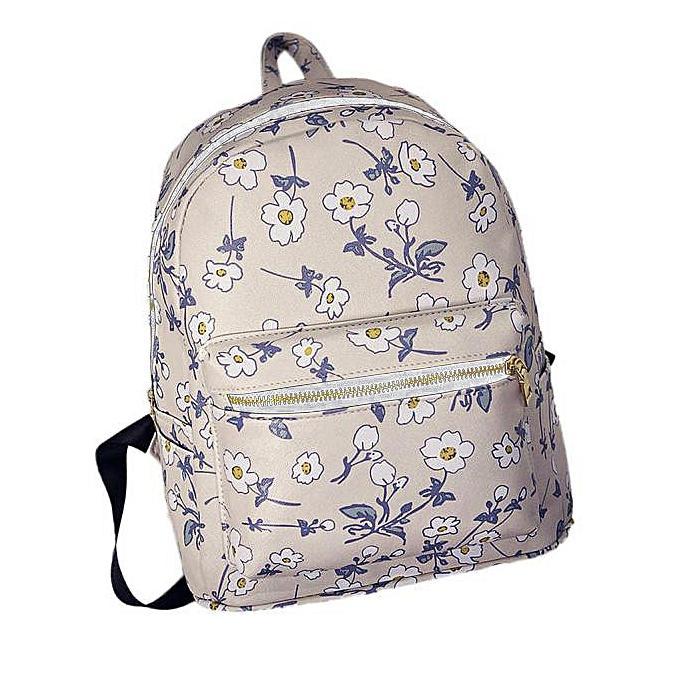 Neworldline femmes Casual Floral Printed Bookbag Shoulders Bag  Backpack -blanc à prix pas cher