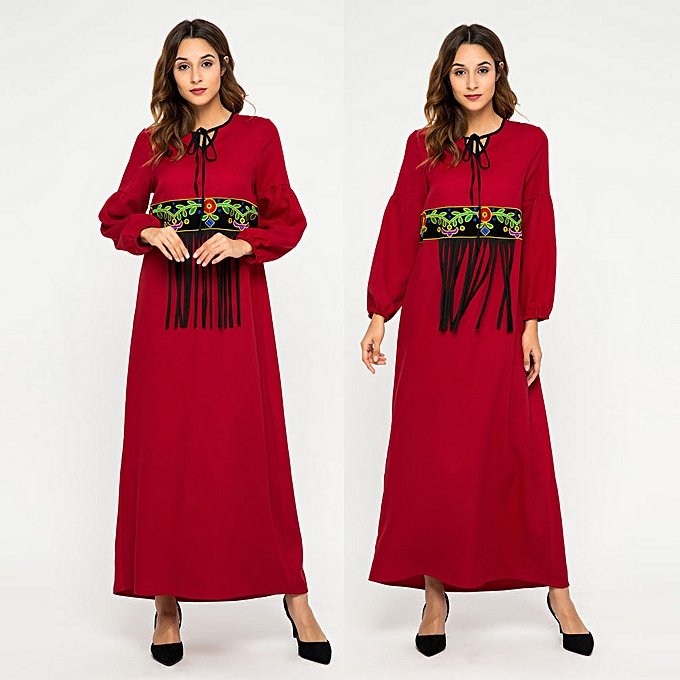 mode whiskyky store femmes Muslim Kaftan Robe rouge Tassel Abaya Islamic Turkish Long Robees à prix pas cher