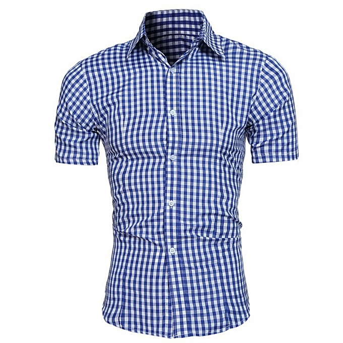 Other New Stylish Classic Small Plaid Men's Short Sleeves Shirts à prix pas cher