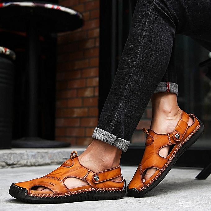 Fashion jiuhap store Men's Summer Casual Leather Sandals Breathable Tide Outdoor Beach chaussures à prix pas cher