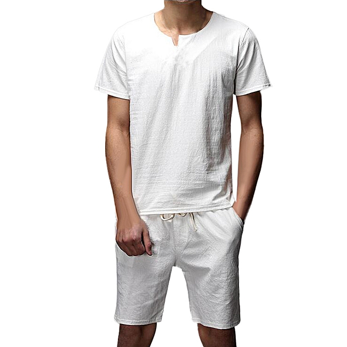 mode Two Pieces Hommes& 039;s Décontracté Slim manche courte  Shirt Top chemisier Pants Sets -blanc à prix pas cher
