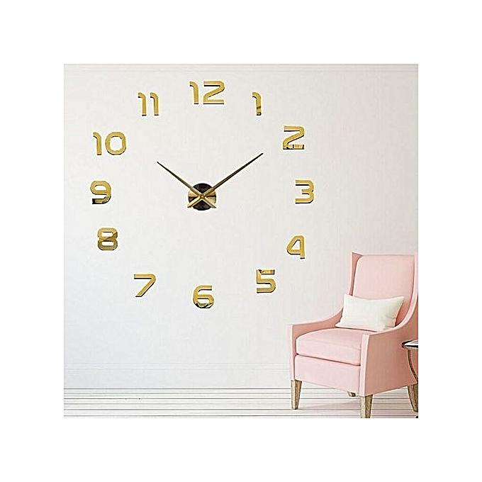diy horloge murale 3d 60 cm dor prix pas cher jumia maroc. Black Bedroom Furniture Sets. Home Design Ideas
